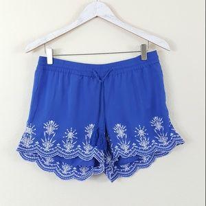 LOFT Blue & White Eyelet Lace Scalloped Shorts XS
